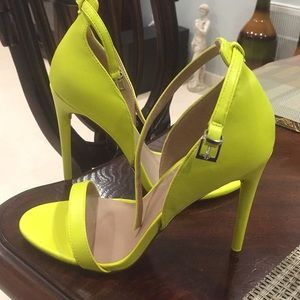 Lime green strap high heel sandal